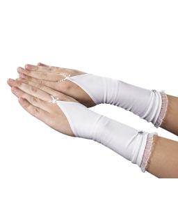 Długie rękawiczki komunijne dla dziewczynki RK53