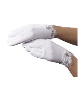 Rękawiczki komunijne z haftem RK63