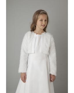 Bolerko komunijne dla dziewczynki z futerkowej tkaniny