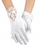 Komunijna rękawiczki z koronkową wstawką i perełkami 1