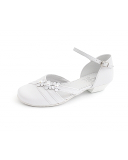 Białe buty komunijne dla dziewczynki na obcasie 1