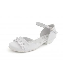 Białe buty komunijne dla dziewczynki na obcasie