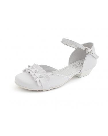 976077acef Białe buty komunijne dla dziewczynki na obcasie