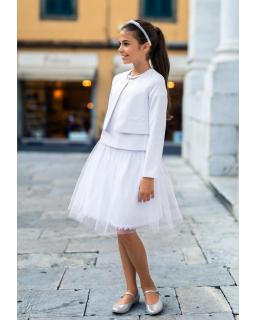 Białe bolerko dla dziewczynki do sukienki i spódniczki