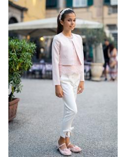 Różowe bolerko dla dziewczynki z koronką na kieszonkach