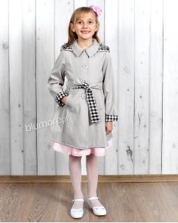 Płaszcz z kapturem dla dziewczynki 122-164 Marysia szary