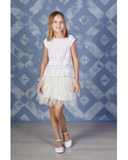 Koronkowa sukienka z tiulem 122-152 Jenifer ecru