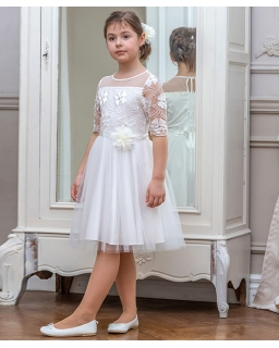 Sukienka dla dziewczynki kolor ecru tiul