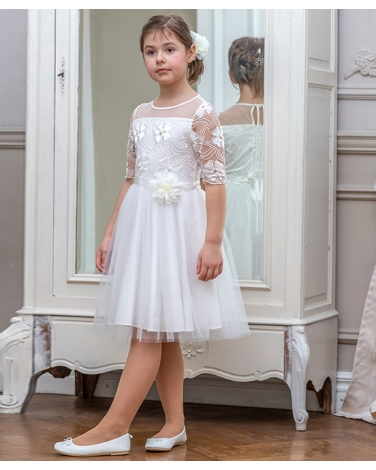 6b6a06f9a0 Sukienka dla dziewczynki kolor ecru tiul