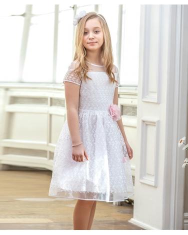 Koronkowa sukienka 128 158 W 82viw Biało różowa
