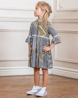 Sukienka dla dziewczynki wzorzysta w stylu boho szaro zółta