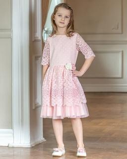 4a5e454aca Dziewczęca sukienka z koronką 128-158 W-88 viw różowa