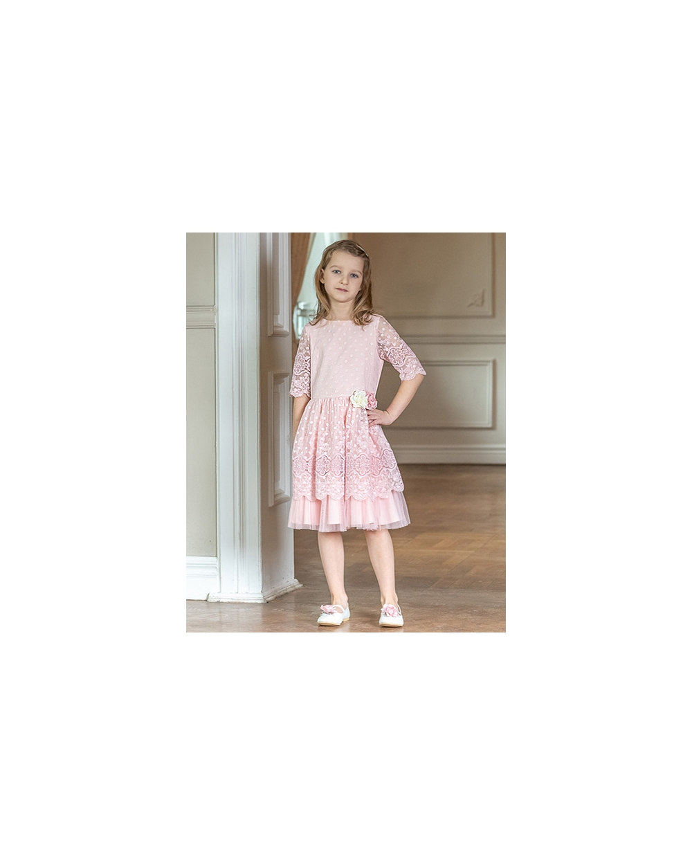85a624bcd6 Sukienka dziewczęca na wiosnę różowa z kwiatkami