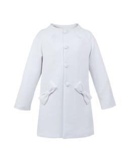 Biały pikowany płaszczyk dla dziewczynki
