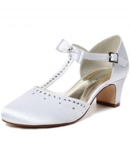 Buty na obcasie zdobione cyrkoniami 32-38 BK75 białe
