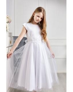 Tiulowa sukienka z koronką w pasie 122-152 Eliza biała