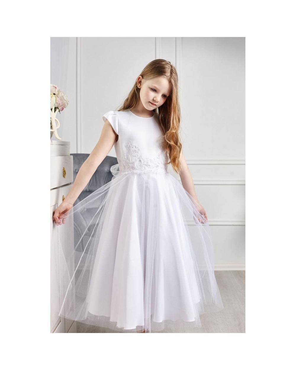 4fc3e55ad2 Tiulowa sukienka z koronką w pasie 122-152 Eliza biała