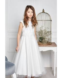 Długa sukienka wizytowa dla dziewczynki 122-152 Eliza kremowa