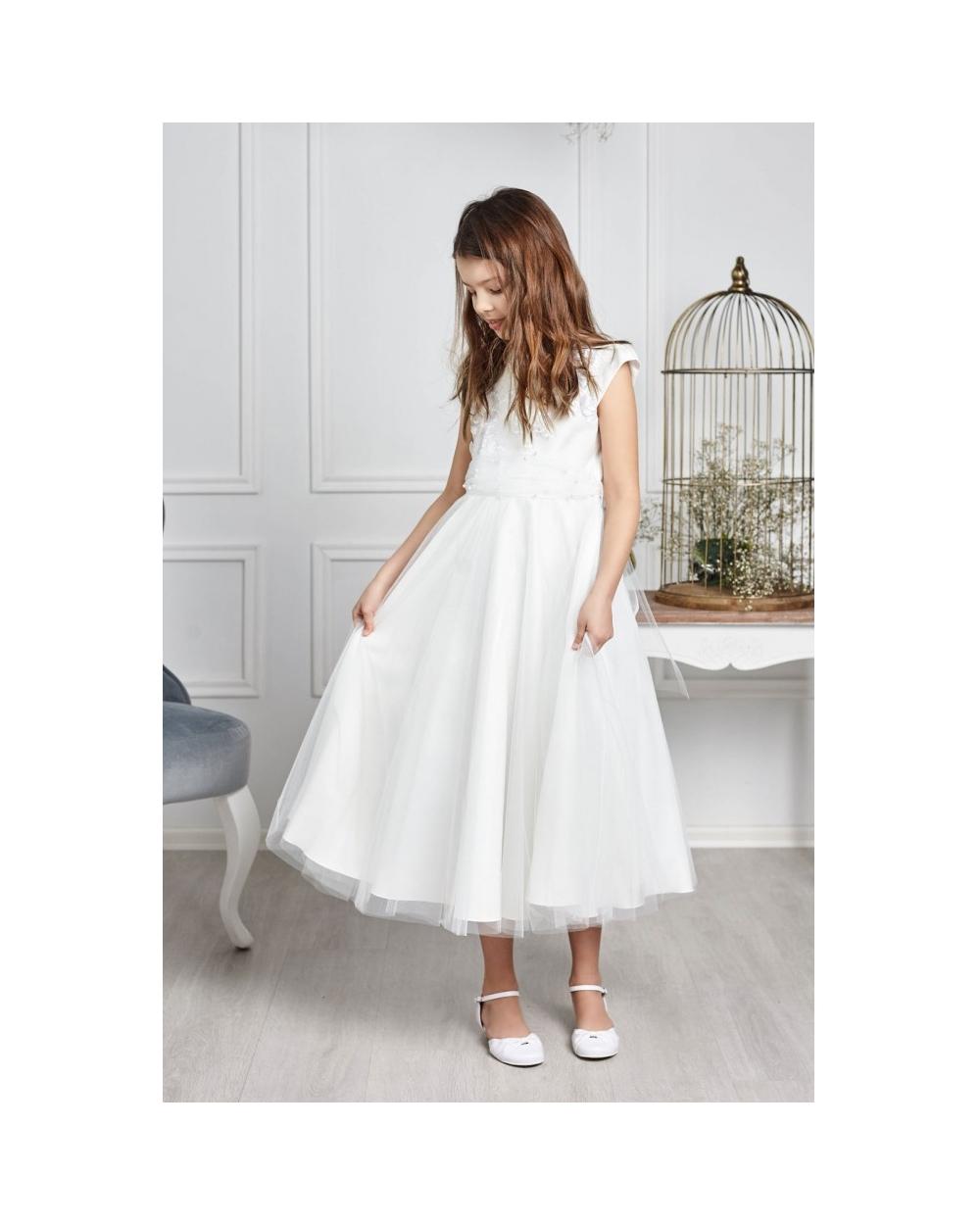 394ae7c2 Długa sukienka wizytowa dla dziewczynki 122-152 Eliza kremowa