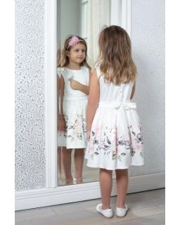 Satynowa sukienka dla dziewczynki z paskiem 122-152 862KW/ecru