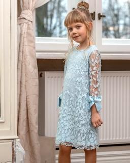 Koronkowa sukienka dla dziewczynki 128-158 W-89/viw błękitna