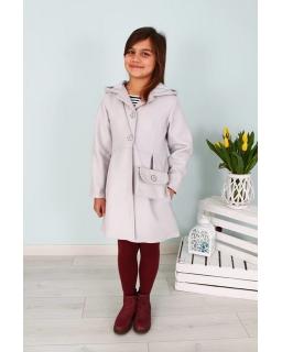 Płaszcz dla dziewczynki z torebką 128-158 Basia szary