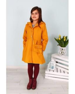 Płaszcz dla dziewczynki z torebką 128-158 Basia miodowy