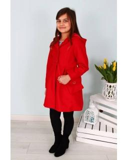 Płaszcz dla dziewczynki z torebką 128-158 Basia czerwony