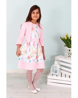 Komplet dla dziewczynki sukienka i bolerko 122-158 Rosa róż