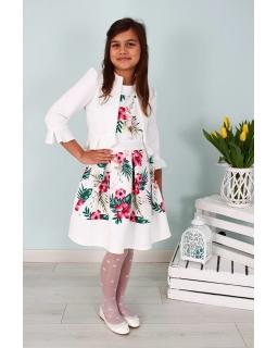 Dziewczęcy komplet sukienka z bolerkiem 122-158 Rosa biały