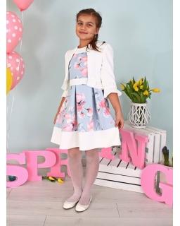 Zestaw sukienka z bolerkiem 122-158 Rosa szaro-niebieski