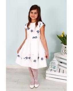 Sukienka w drobne kwiatki 122-158 Ala biało-różowa