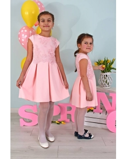 Dziewczęca sukienka z haftem 122-158 Ala różowa