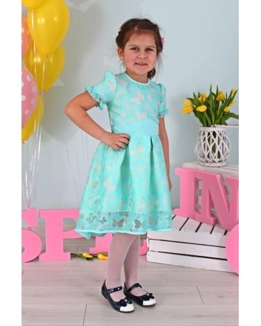 80ec69f424 Sukienka z motylkowym wzorem 128-158 Bella miętowa