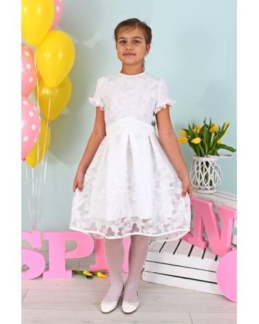 28cfbf3e Wzorzysta sukienka dla dziewczynki 128-158 Bella biała
