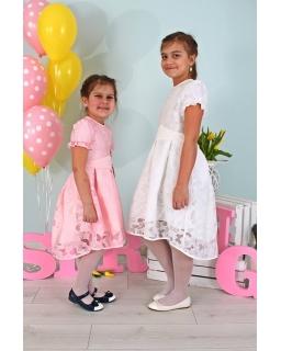 Sukienka z dłuższym tyłem 128-158 Bella różowa