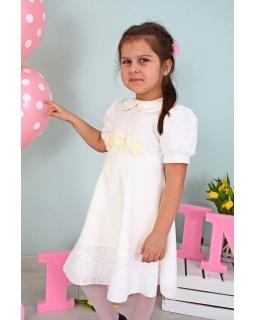 Sukienka z kołnierzykiem dla dziewczynki 98-128 Jula ecru