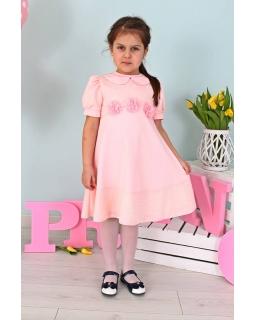 Sukienka z kołnierzykiem dla dziewczynki 98-128 Jula różowa