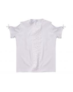 Bluzka z modnym rękawkiem 122-158 Silena 2 biała