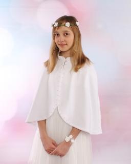 Polarowa narzutka komunijna dla dziewczynki PS02 biała