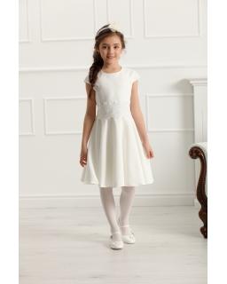 Sukienka z koronką w pasie 134-158 Barbi ecru