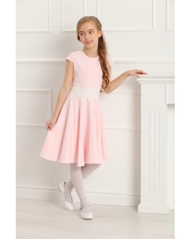 Dziewczęca sukienka szyta z koła 134-158 Barbi różowa