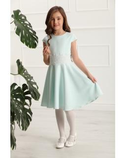 fe210ffa81 Sukienka z gipiurową koronką 134-158 Barbi turkusowa