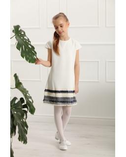 Prosta sukienka z wstawką dla dziewczynki 128-158 Olivia ecru