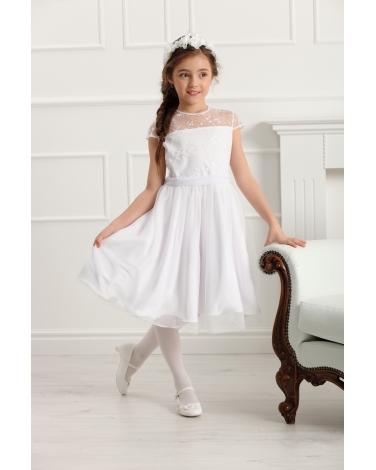 aff5aa40cdb689 Wizytowa sukienka dziewczęca 128-158 Rebecca biała