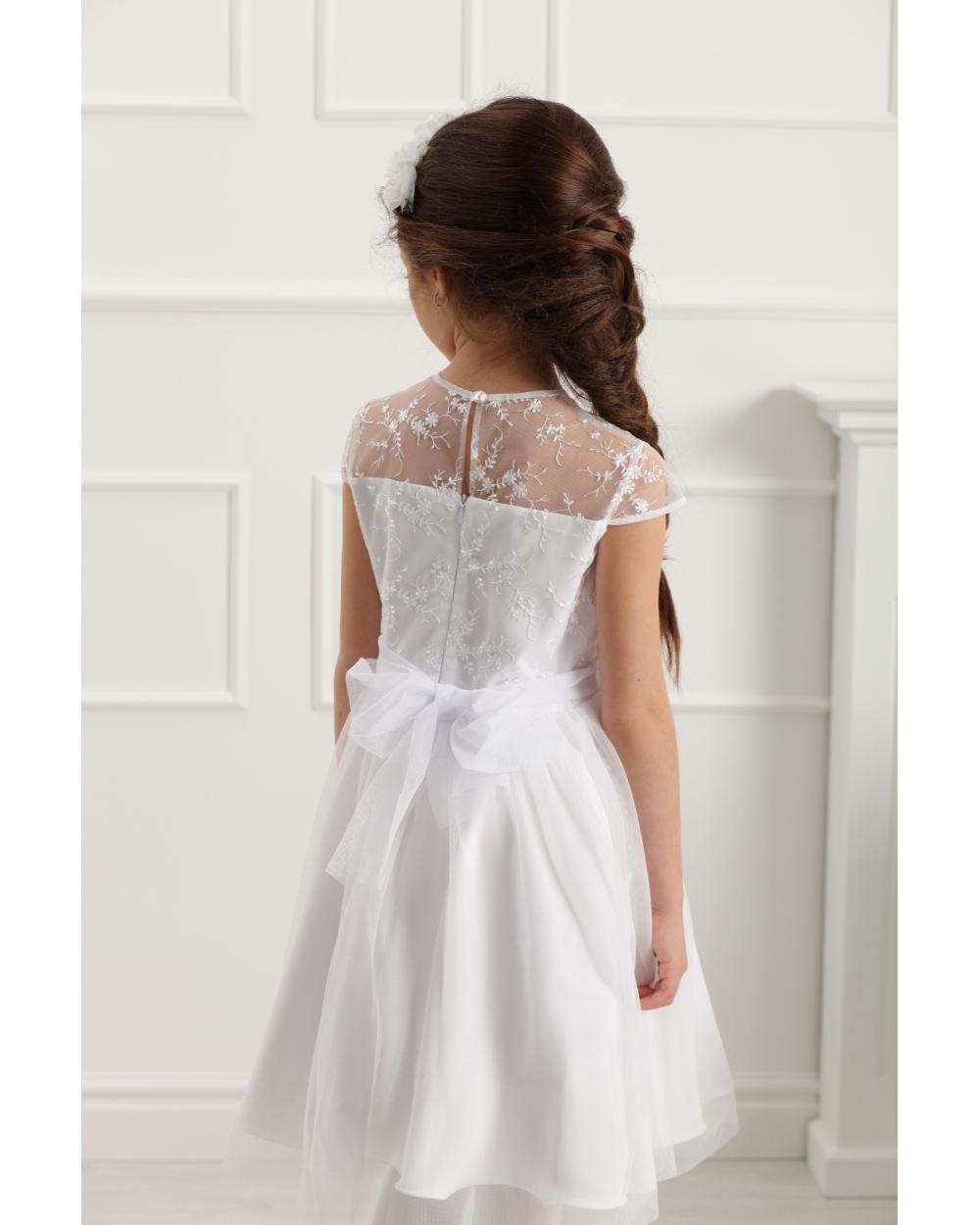 f111074d565955 Wizytowa sukienka dziewczęca 128-158 Rebecca biała 2