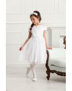 Elegancka sukienka z rękawkiem 128-158 Charlotte biała