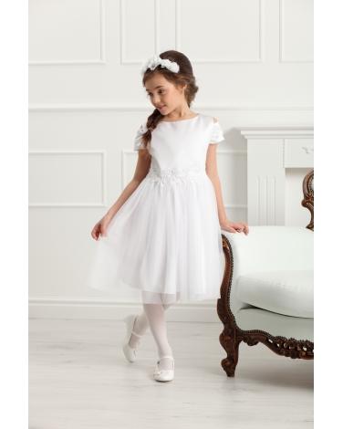 1699e680f4 Elegancka sukienka z rękawkiem 128-158 Charlotte biała
