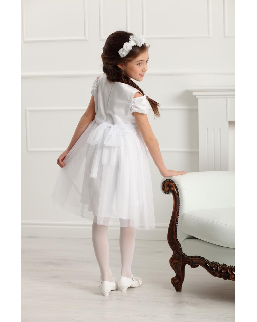ccaa27628b07e1 Elegancka sukienka z rękawkiem 128-158 Charlotte biała 1