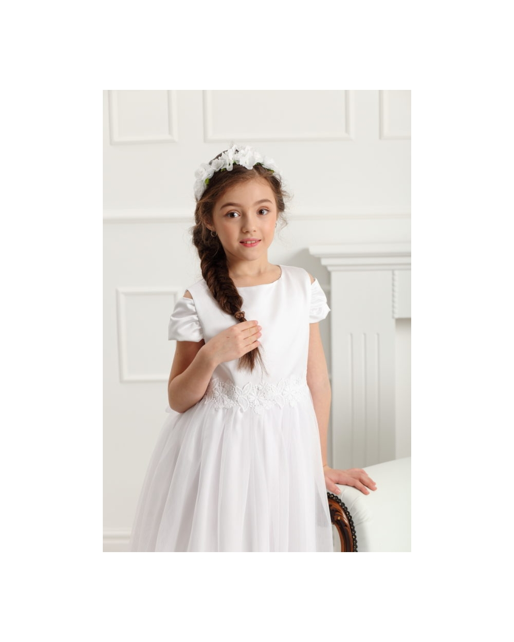 8fd5dc49cb79cc Elegancka sukienka z rękawkiem 128-158 Charlotte biała 2